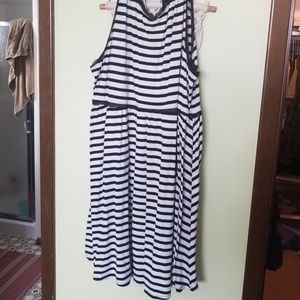 Torrid striped cotton and lace dress
